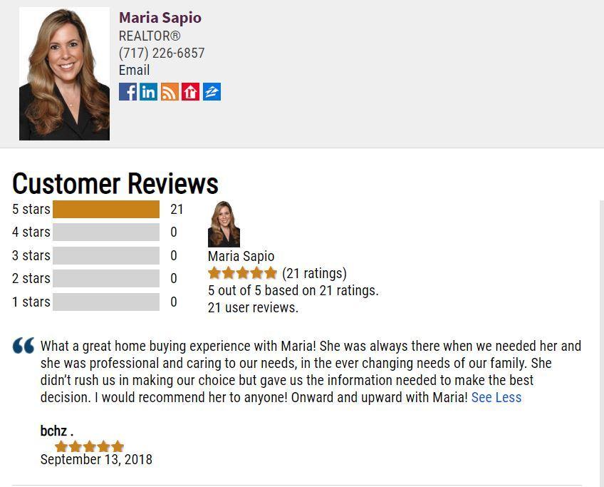 Review For Maria Sapio, Realtor® - Boiling Springs, PA