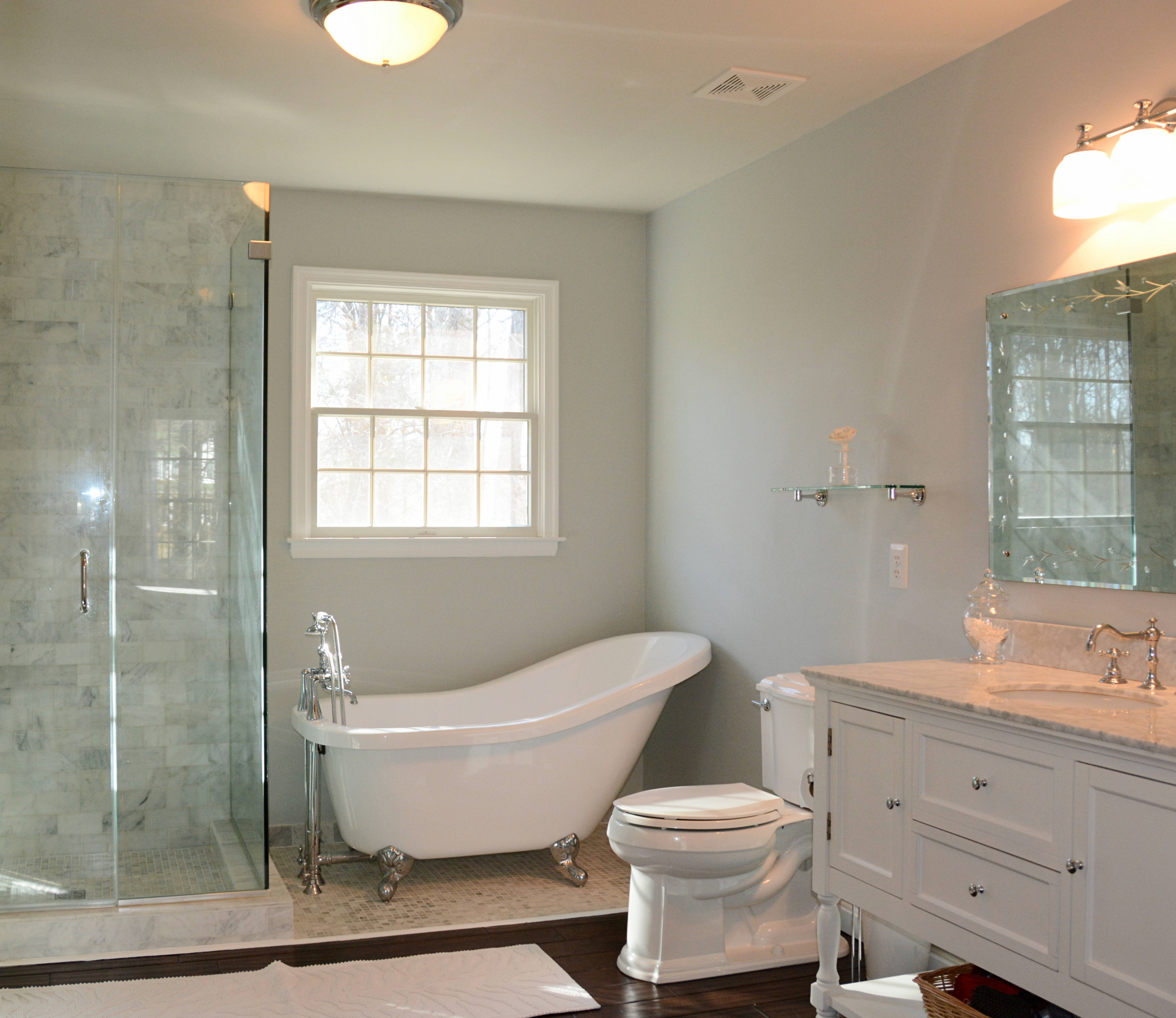 La Plata MD Homes Master Suite Amazing Bathroom Remodel With Claw Foot Tub Marble Shower Frameless Door Enclosure And