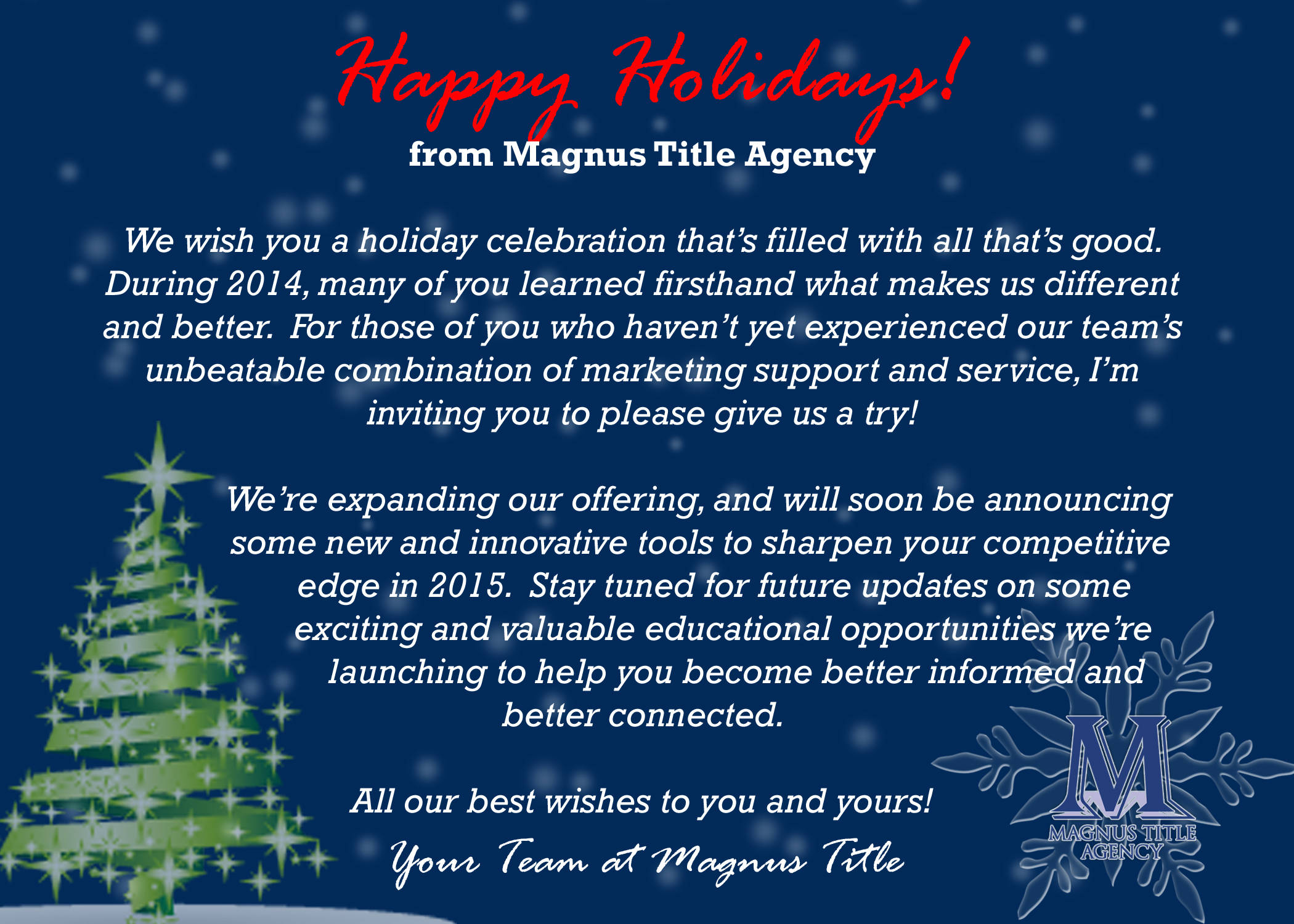 Holiday Greetings And An Invitation For You