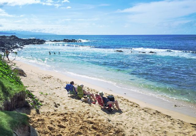 Enjoying a day at the beach on Maui's north shore