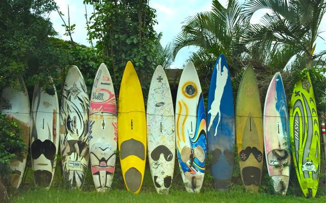 Surfboard fence by the Kuau Market, Kuau Maui
