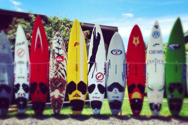 surfboard fence in Kuau Maui, by the Kuau Store
