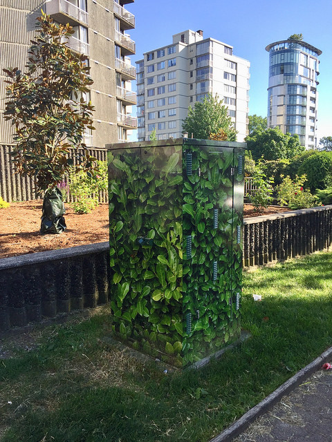 Green utility box in Vancouver BC