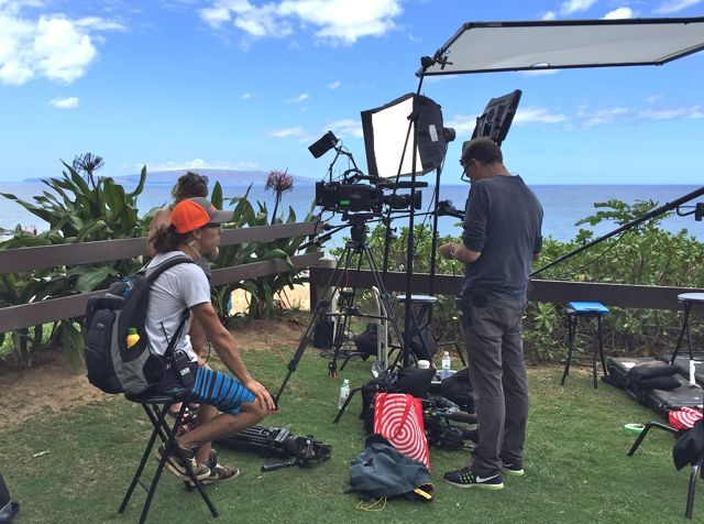 Setting up for an interview scene in Kihei Maui