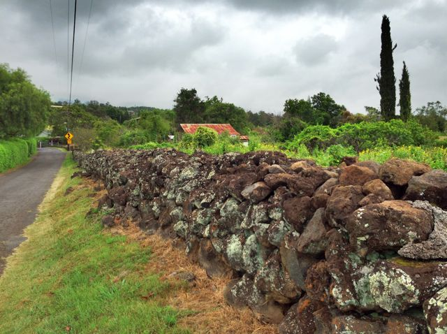 lava rock walls on Kamehameiki Rd. Kula Maui HI