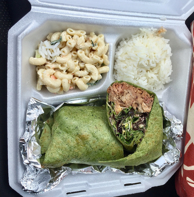 pulled pork wrap, rice, macaroni salad - Da Nani Pirates food truck, Kihei Maui
