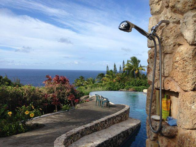 outdoor shower with a view - Haiku Maui Hawaii