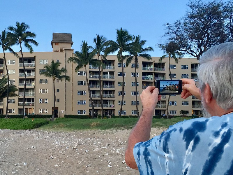 Snapping a picture of the Menehune Shores Resort in Kihei Maui HI