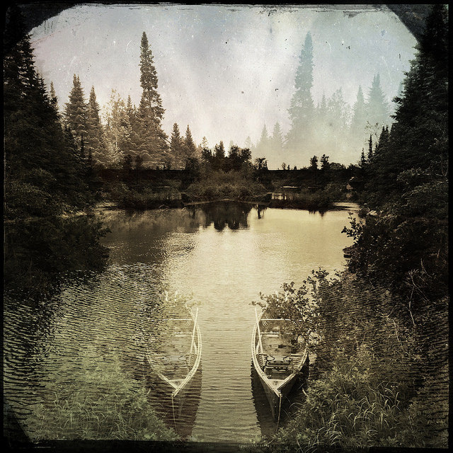 Happy Canada Day #Hipstamatic holiday pics - canoe and river scene