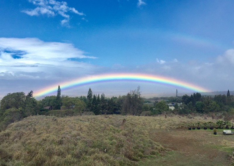 Upcountry Maui rainbow and view