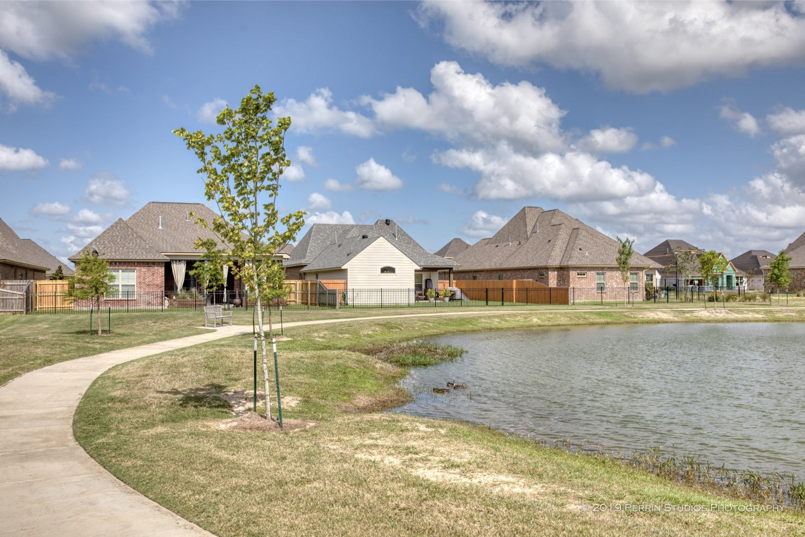homes in Lakes of Morganfield along the pond