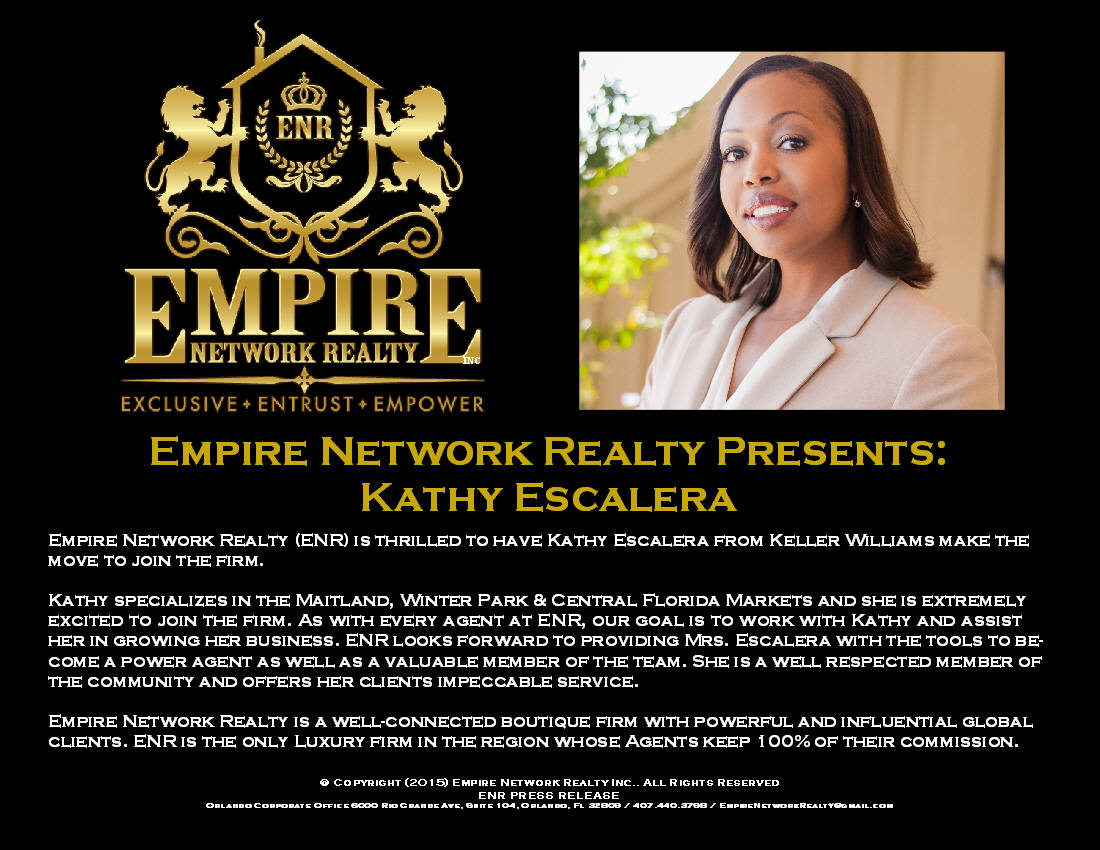 empire network realty welcomes kathy escalera from kel. Black Bedroom Furniture Sets. Home Design Ideas