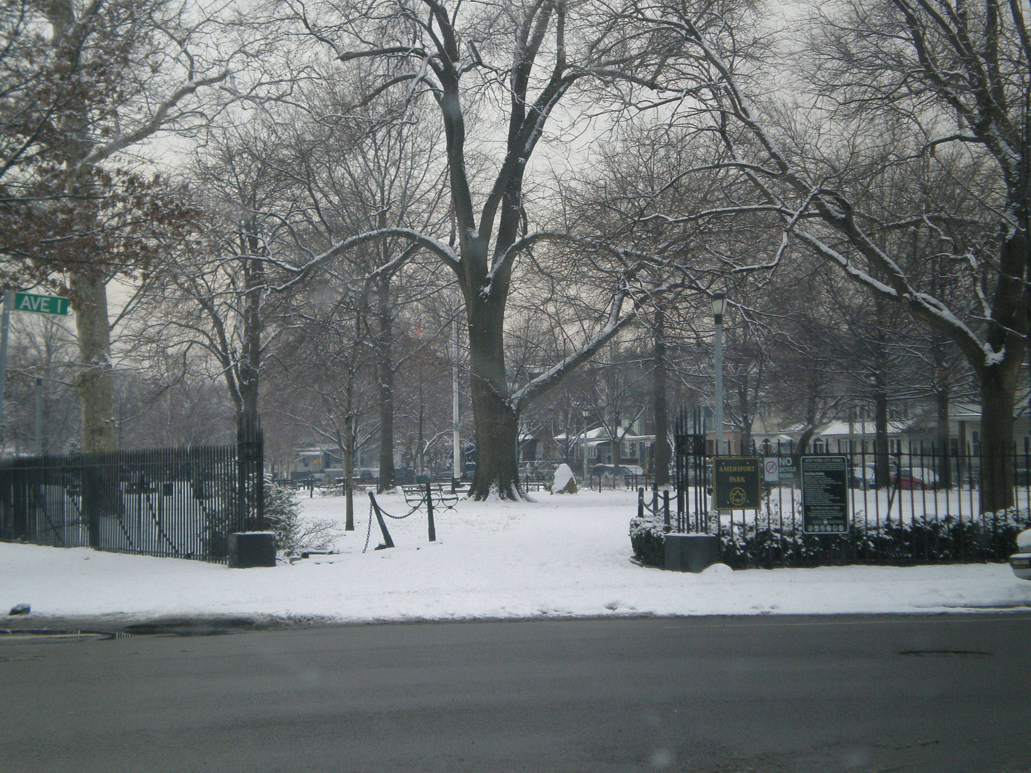 winter day in amersfort park  flatbush brooklyn