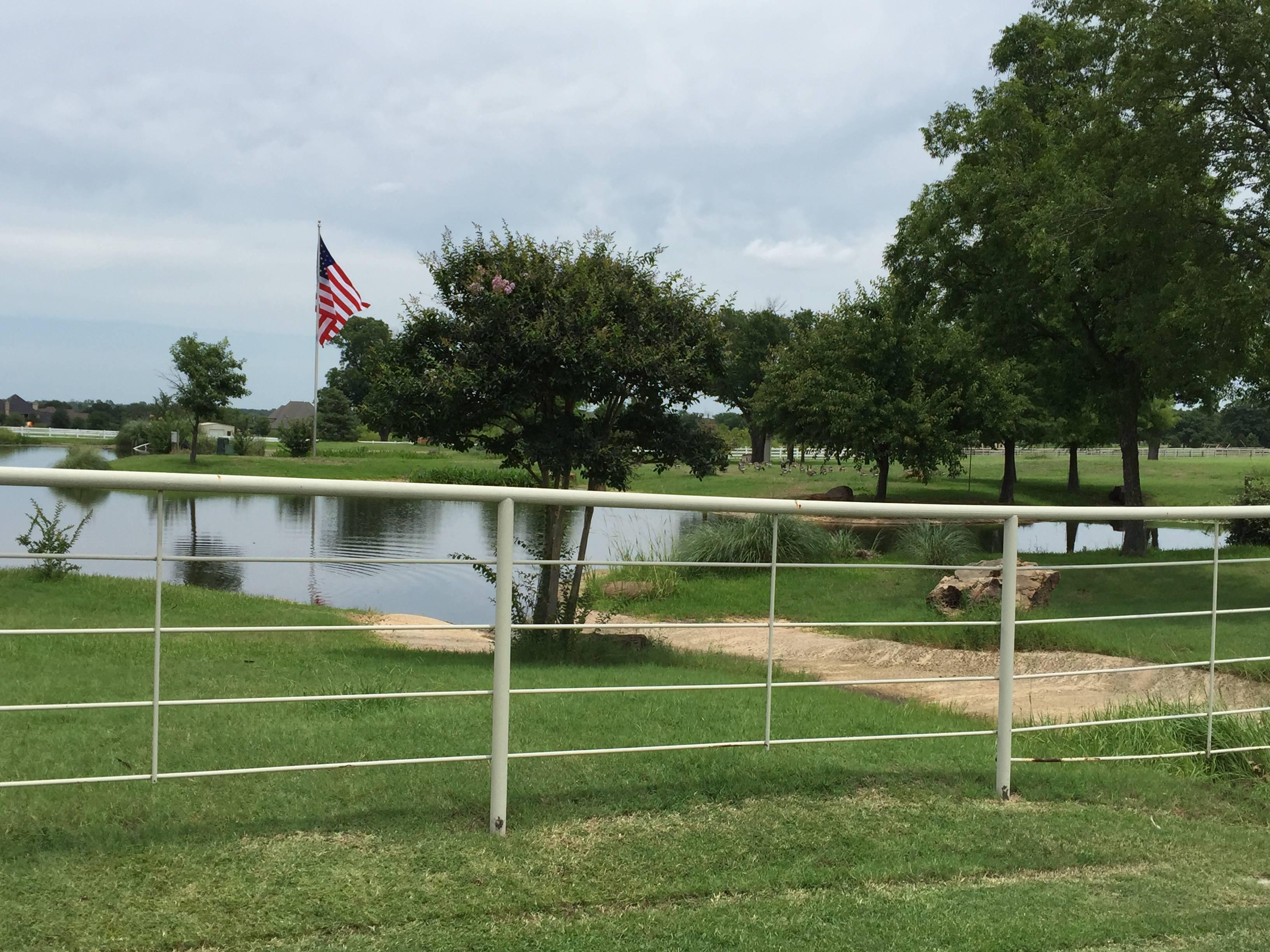 Pond at entrance to Roadrunner Rd Bartonville TX