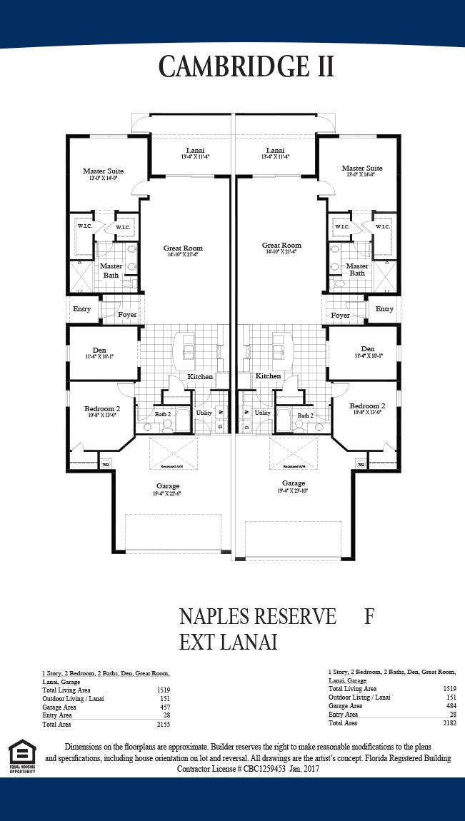 Dr horton releases villas in naples reserve for Real estate floor plan pricing