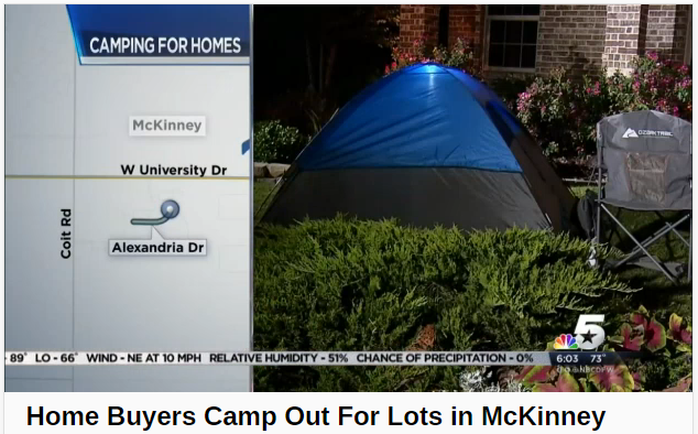 Home buyers camp out for new construction home