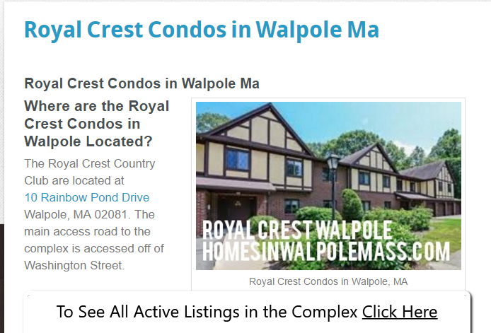 Royal Crest Condos in Walpole located at Rainbow Pond