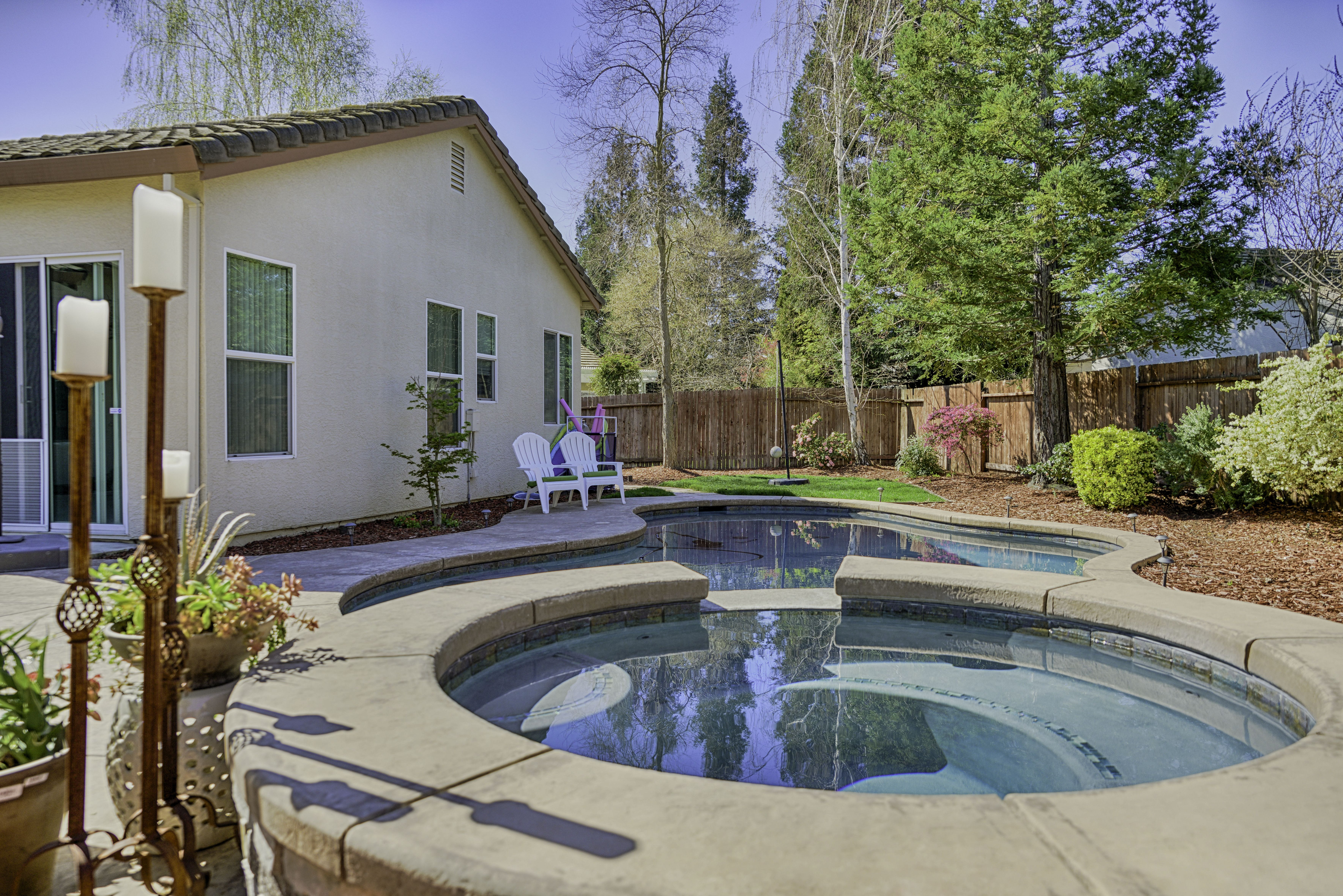 Backyard Landscaping Elk Grove Ca : Landscaping including a pool and spa with waterfall landscape