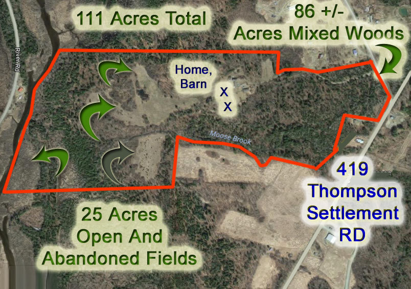aerial map 419 thompson settlement road oakfield me