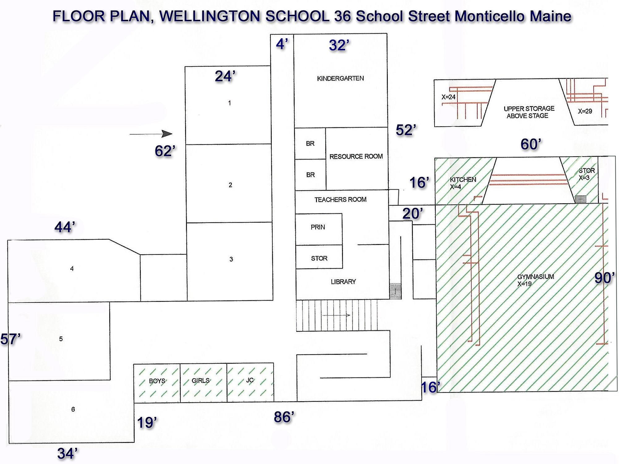maine school for sale floorplan sketch