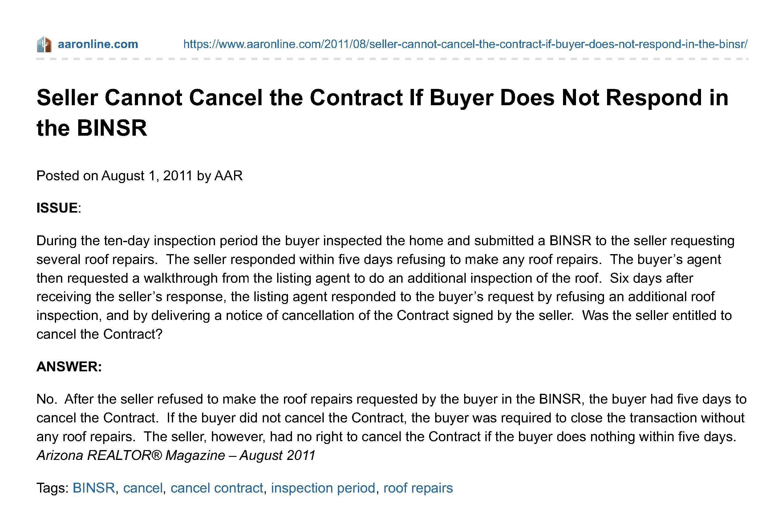 Arizona Seller Of Quick Cash Probate House Can T Cancel