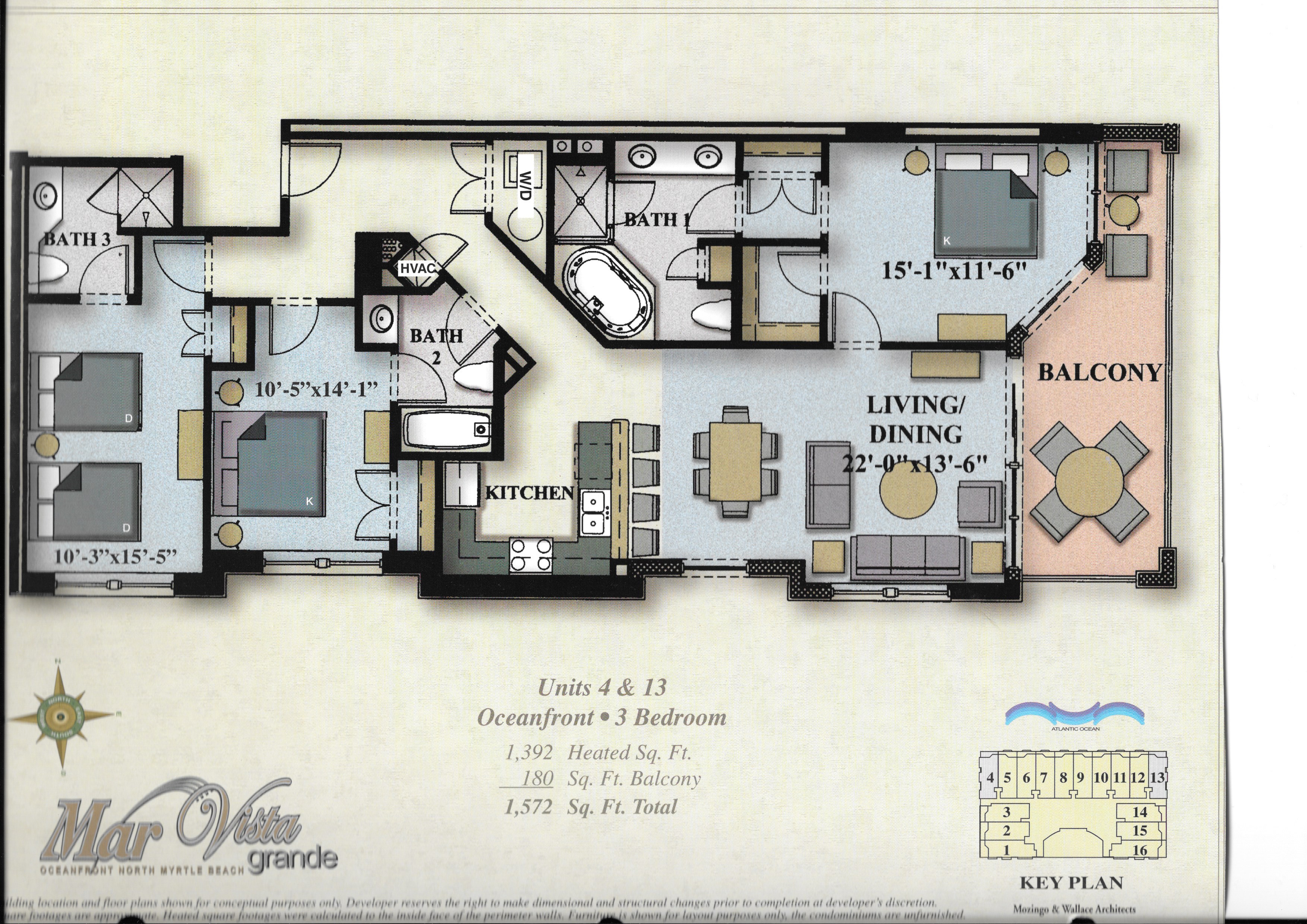 Floor Plan for Mar Vista Grande in North Myrtle Beach SC