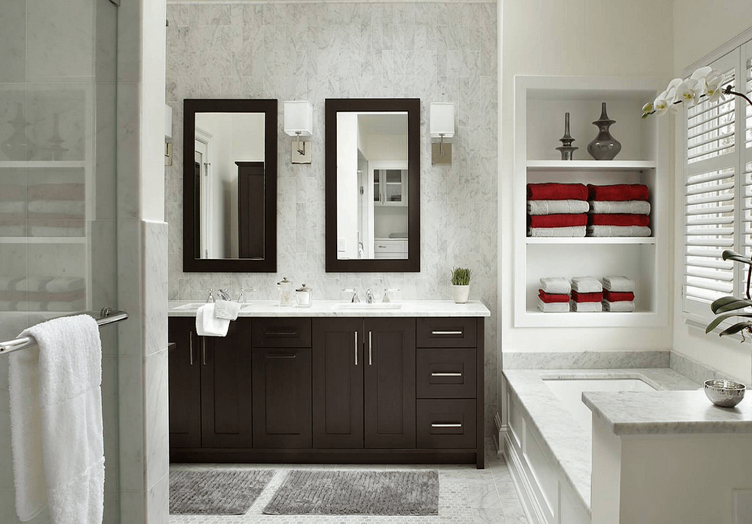 A Large, Framed, Mirror Can Be Hung Which Spans The Entire Length Of The  Vanity Or Counter Space, Or Two Smaller Mirrors Can Be Hung Above Each  Individual ...