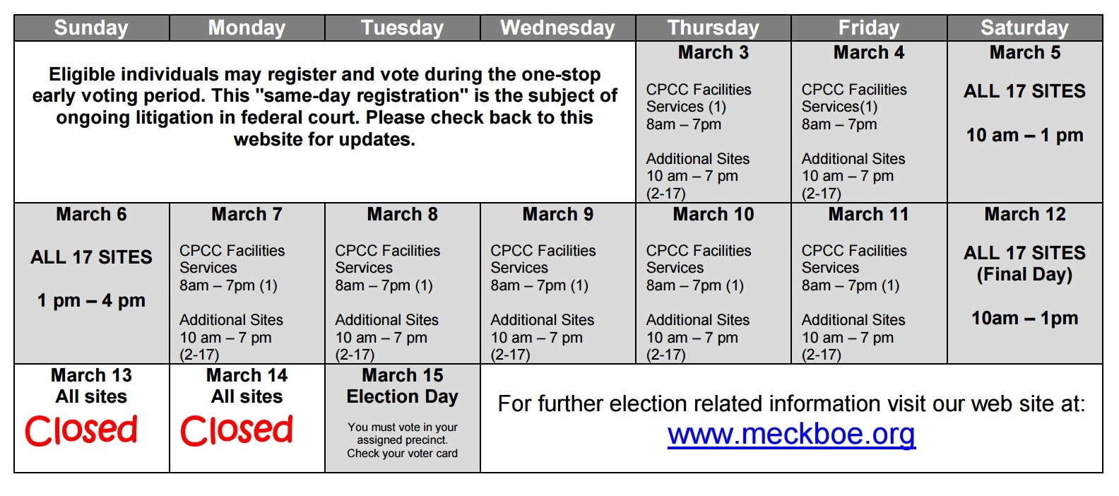 2016 primary elections/voting schedule in charlotte, nc