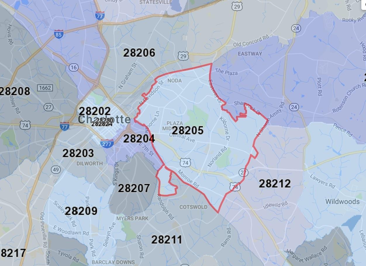 28205 Charlotte Zip Code Map