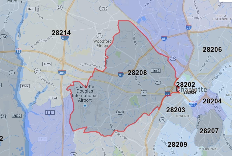 28208 Charlotte Zip Code Map