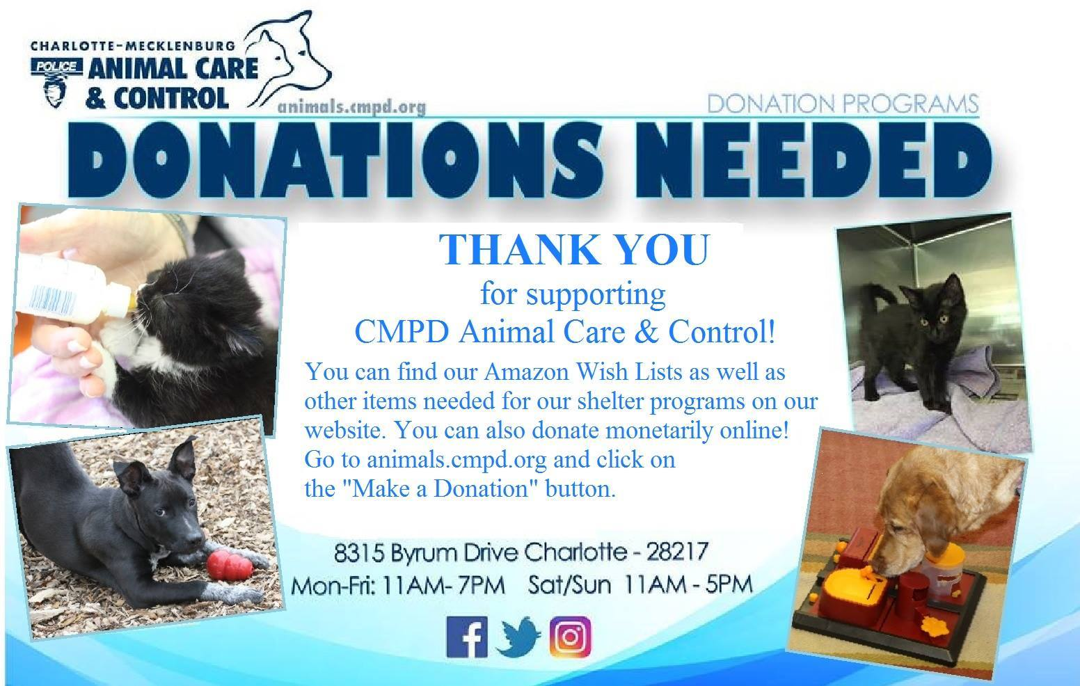 CMPD Animal Contorl Division Donations Needed List