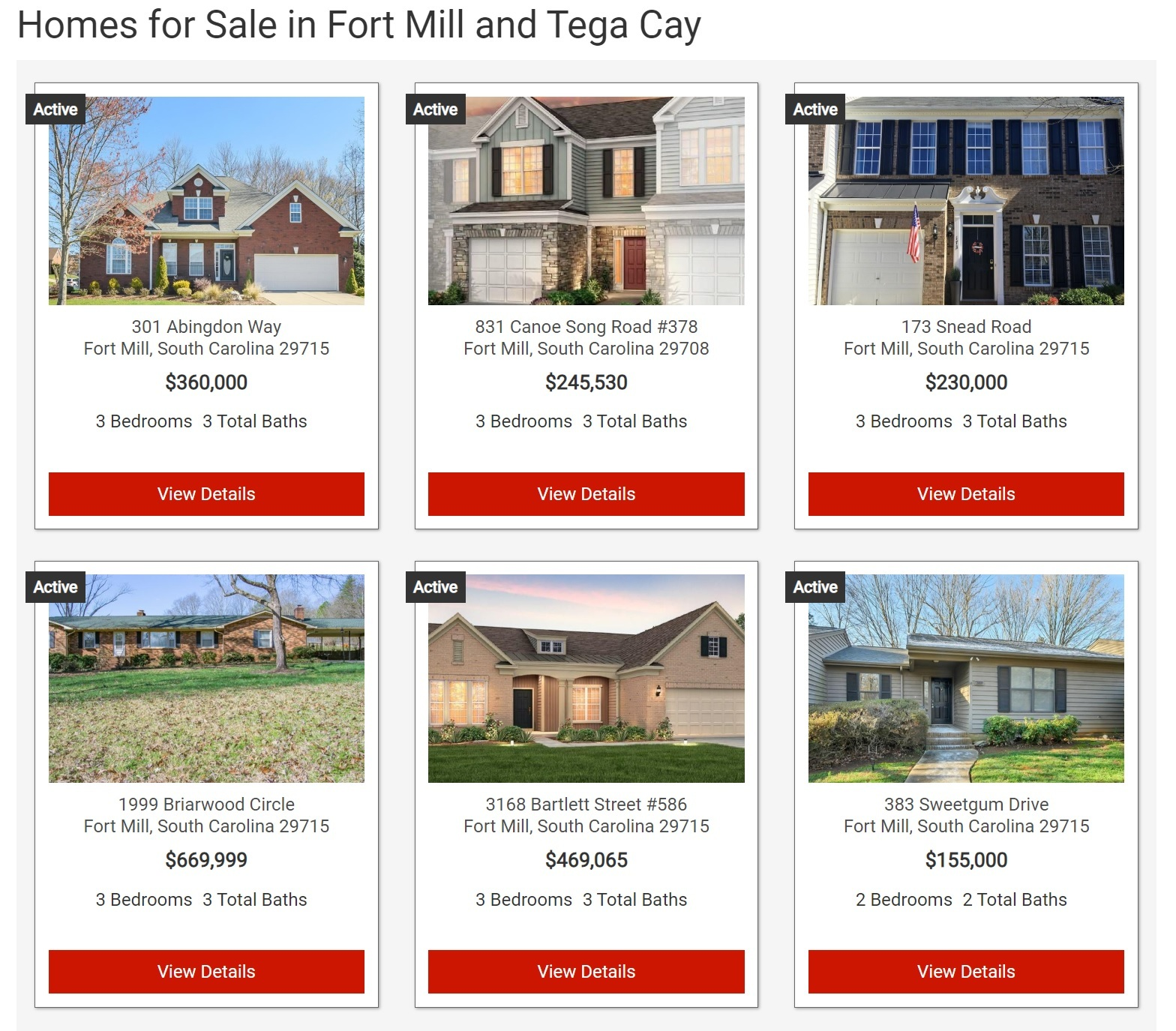 Search Tega Cay Homes For Sale