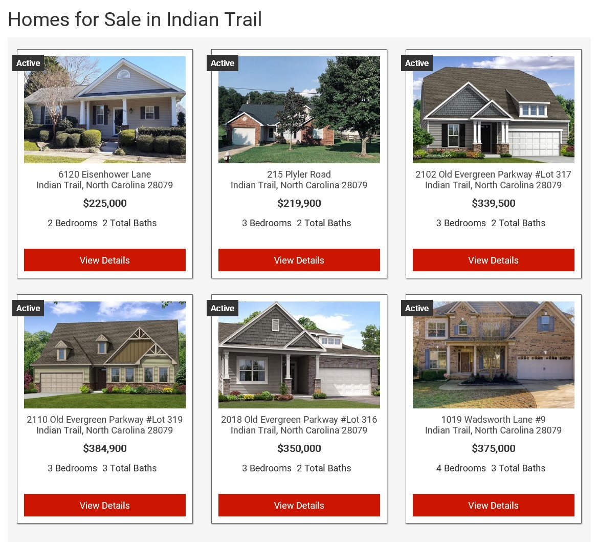 Search homes for sale in Indian Trail, NC