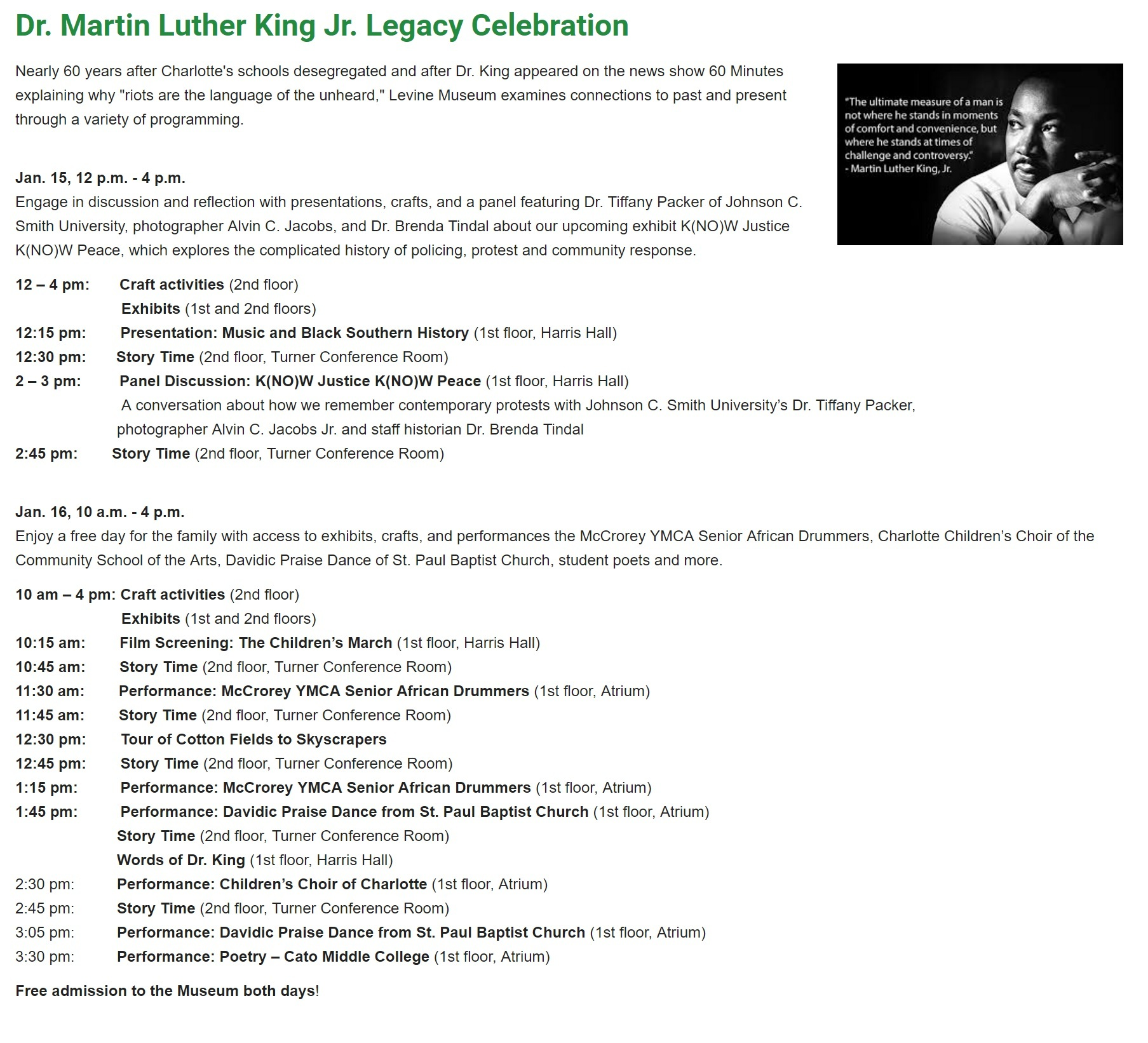 Levine Museum In Charlotte Honors Martin Luther King, Jr. Day