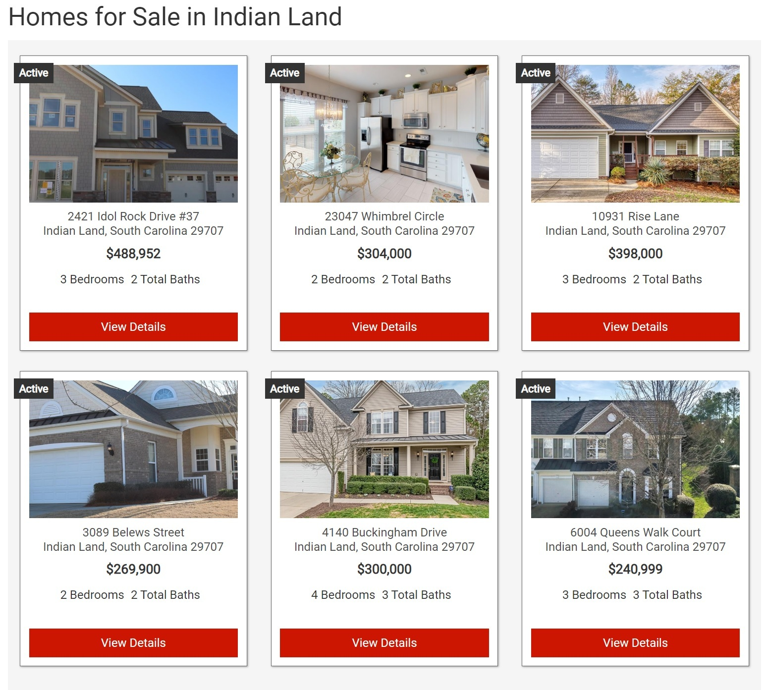 Search for all Indian Land Homes For Sale