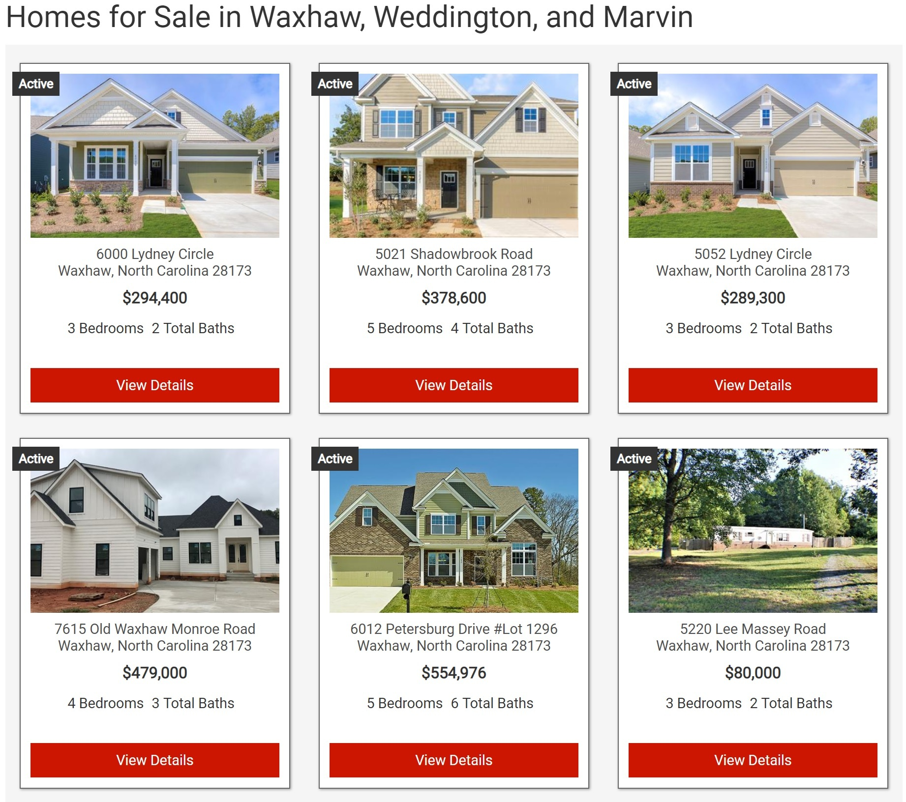 Search Waxhaw Area Homes For Sale