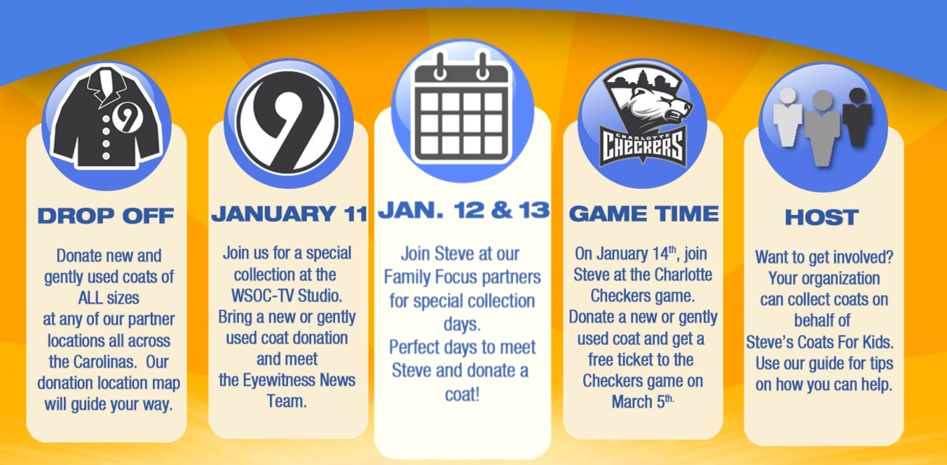 January 2016 Schedule For Steve's Coats For Kids Drive