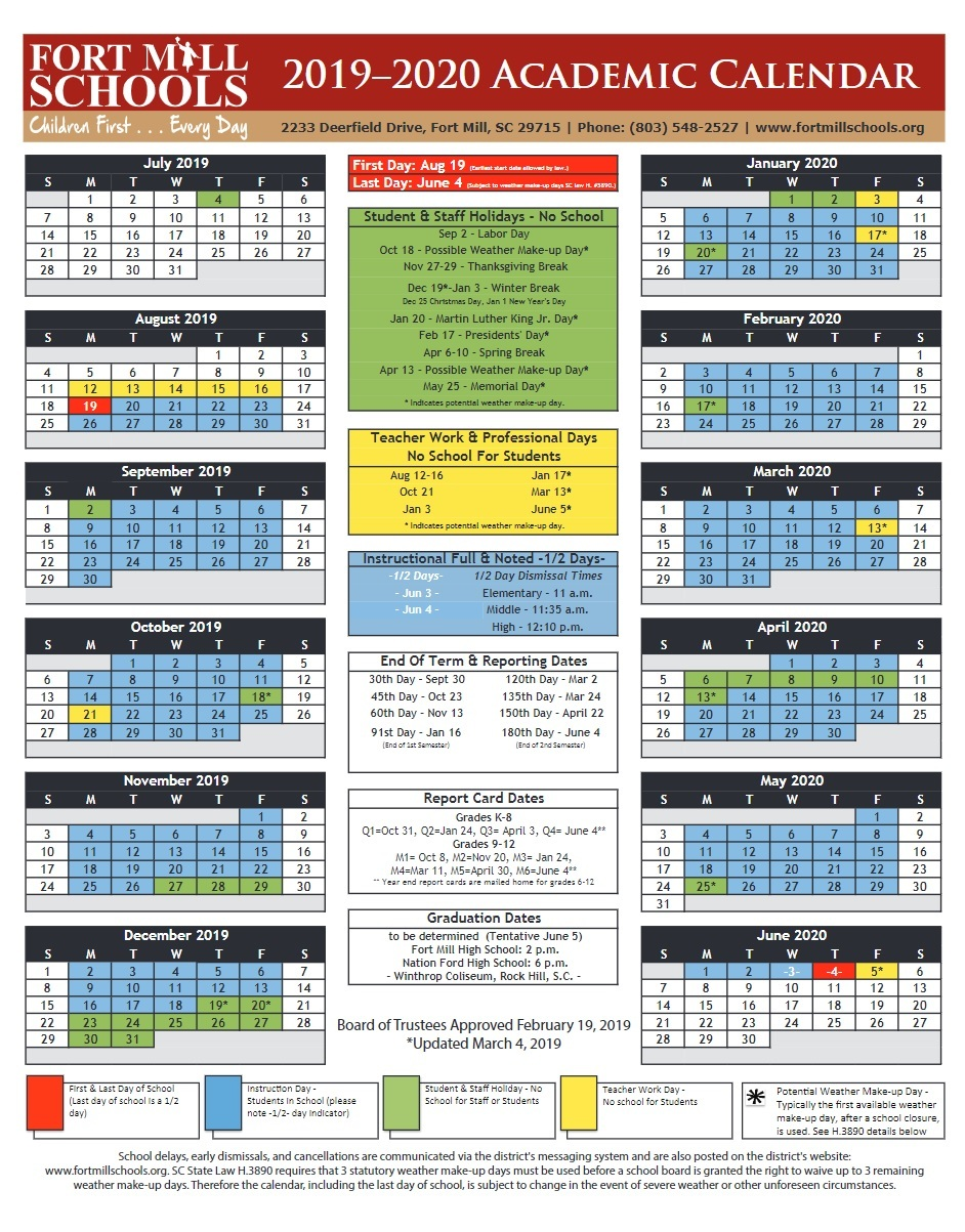 Fort Mill SC Schools Academic Calendar 2019/2020