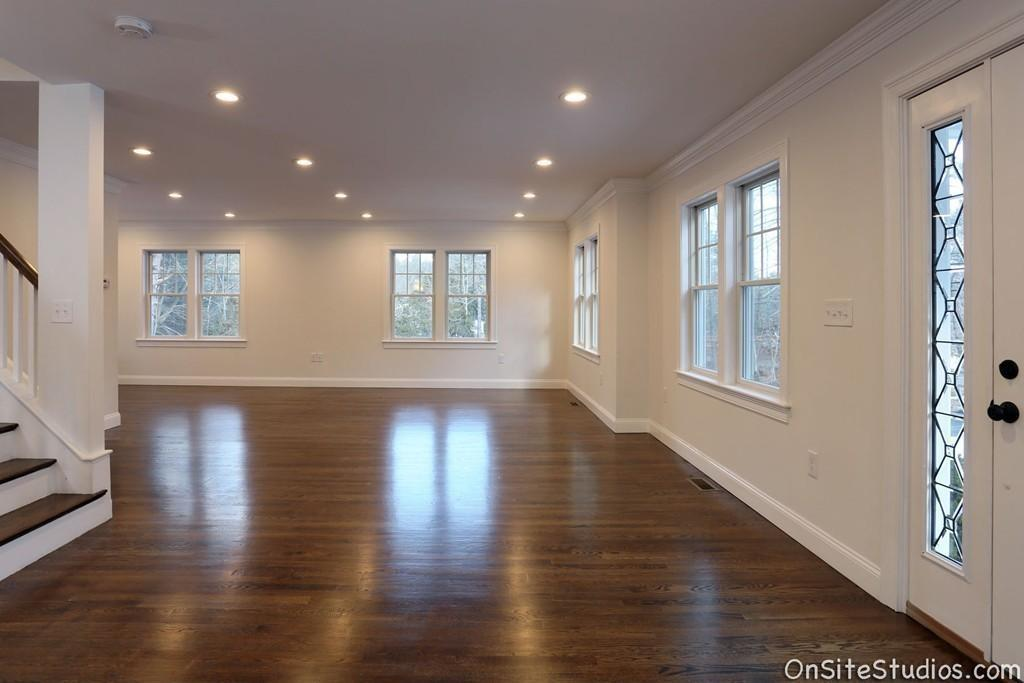 Open floor plan with crown molding and gorgeous hardwood floors at 248 Main Street in Norfolk MA