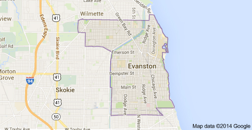 Evanston IL Google Map