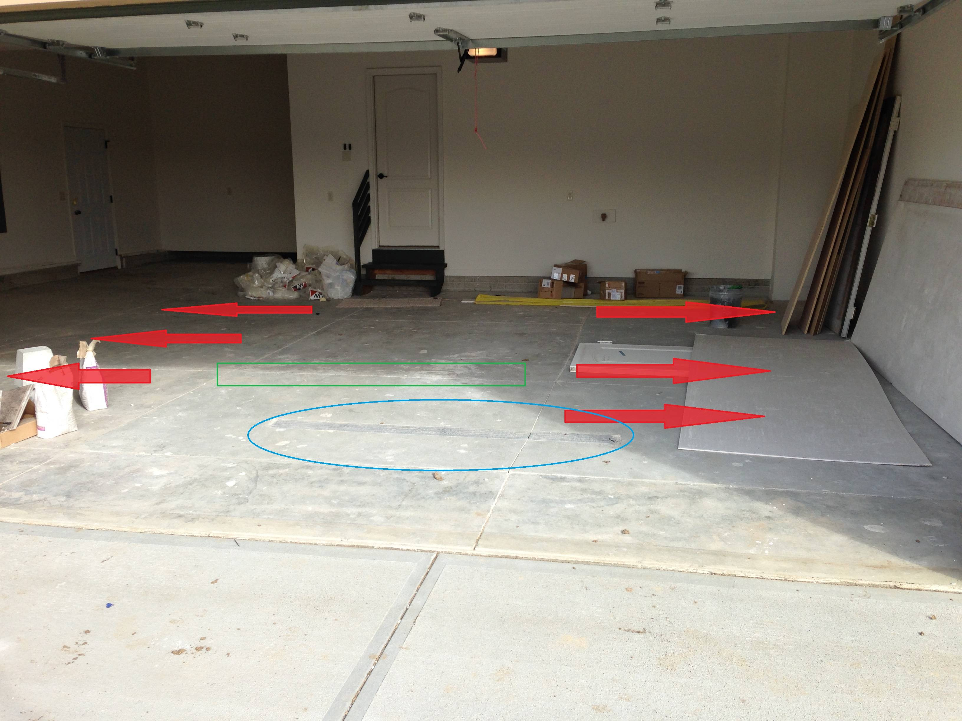 Perfect Garage Floor Does Not Slope To Drain On New Construction