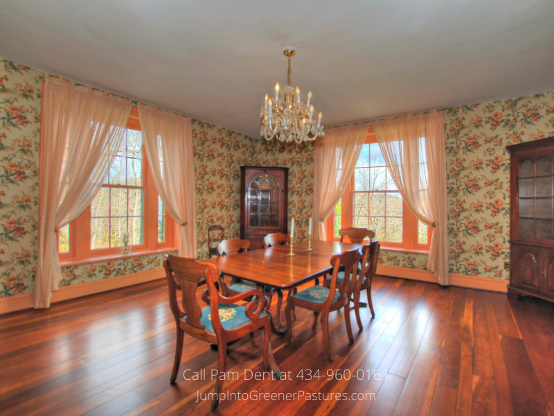 Central VA Historic Real Estate Properties for Sale - The elegant dining room of this stately Central VA home is ideal for entertaining or holiday dinners.