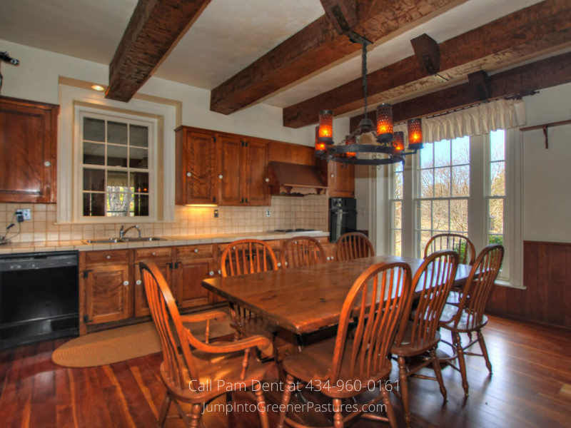 Central VA Farm for Sale - Enjoy the rustic feel of the country kitchen of this Central VA historic home for sale.