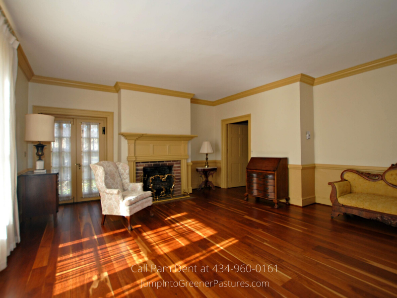 Historic Real Estate Properties for Sale in Central VA - Enjoy easy entertaining in the spacious living room of this historic home for sale in Central VA.