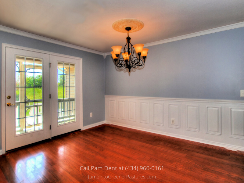 Central VA Country Properties - Enjoy entertaining in the elegant dining space of this Central VA farmette for sale.