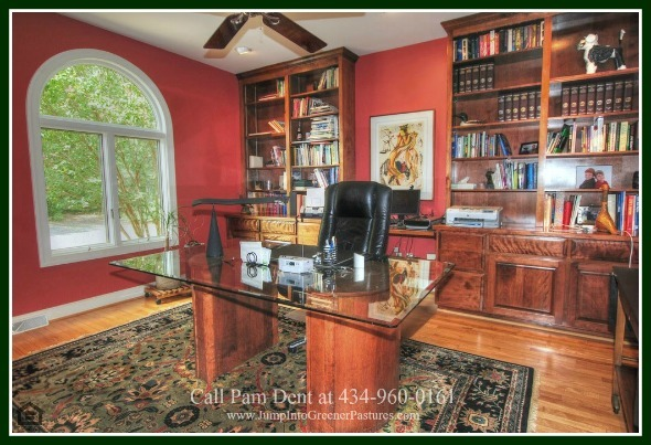 High-End Real Estate Properties for Sale in Scottsville VA -  Enjoy working in the tastefully decorated home office of this country property for sale in Central Virginia.