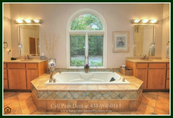 Luxury Homes for Sale in Scottsville VA  - Combining modern design and luxurious touches, the best of pampering can be yours in the master bathroom of this Central Virginia luxury country home for sale.