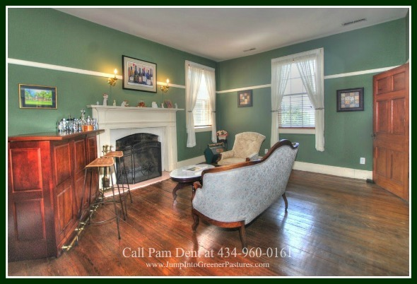 Historic Homes for Sale in Central Virginia - Entertaining is easy in the spacious and elegant living room of this Central VA historic home for sale.