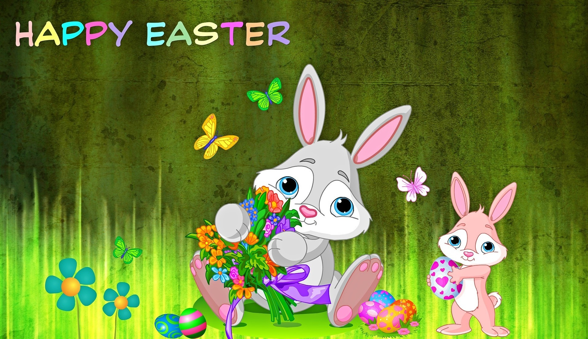 Easter greeting with cartoon character