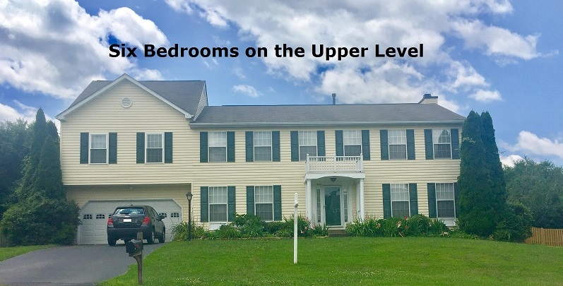 six bedrooms on the upper level of this Manassas Virginia home now for sale